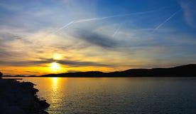 Адриатическое море соляриса Zadar захода солнца стоковые изображения