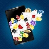 Азартная игра в смартфоне иллюстрация вектора
