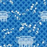 Азиатская безшовная картина с волнами, вишневыми цветами и традиционным домом иллюстрация штока