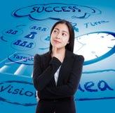 Азиатская бизнес-леди имеет много идей на предпосылке дела Стоковое Изображение
