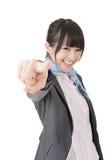 Азиатская бизнес-леди указанная на камеру стоковые изображения rf