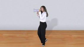 Азиатская бизнес-леди говоря с мегафоном