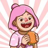Азиатская девушка есть гамбургер иллюстрация вектора