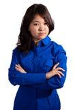 Азиатская девушка складывая ее рукоятки Стоковые Изображения