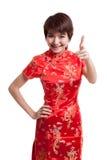 Азиатская девушка в китайском платье cheongsam стоковое изображение rf