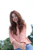 Азиатская девушка в парке Стоковая Фотография RF