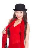 Азиатская девушка в черной шляпе Стоковое Изображение