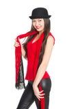 Азиатская девушка в черной шляпе Стоковое фото RF