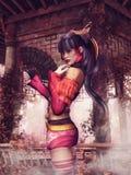 Азиатская девушка и газебо иллюстрация вектора