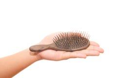 Азиатская девушка потревожилась о выпадении волос Стоковые Фото