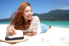 азиатская девушка пляжа Стоковое Изображение