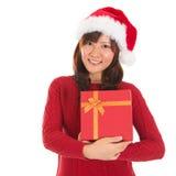 Азиатская девушка рождества держа коробку подарка Стоковое Изображение RF