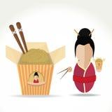 Азиатская девушка с лапшами Бесплатная Иллюстрация