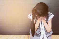 азиатская девушка унылая Стоковое Изображение RF