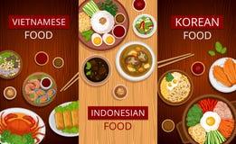 азиатская еда Комплект вертикальных знамен сети иллюстрация штока