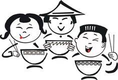 азиатская еда шаржа бесплатная иллюстрация