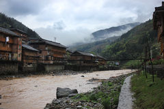 Азиатская деревня, Китай Стоковое Изображение RF