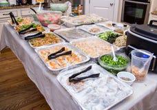 Азиатская еда партии с креветкой и липким рисом красочными Стоковое Фото