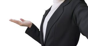 Азиатская женская одежда деловой костюм и представить что-то на белой предпосылке стоковое изображение rf