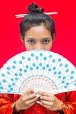 азиатская женщина вентилятора стоковая фотография rf