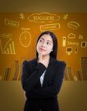 Азиатская женщина имеет много идей на предпосылке дела Стоковое Изображение RF