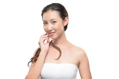 Азиатская женщина на белой предпосылке Стоковая Фотография RF