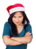 Азиатская женщина нося шлем Санта Стоковое Фото