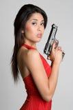 азиатская женщина пушки стоковые изображения rf