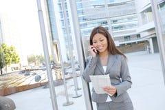 азиатская женщина телефона дела Стоковое Изображение
