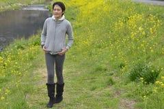 азиатская китайская женщина парка стоковая фотография rf
