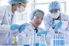 Азиатская команда ученого имеет исследовать в лаборатории стоковые изображения rf