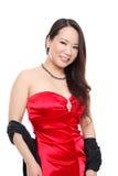 азиатская красивейшая женщина красного цвета платья Стоковое фото RF