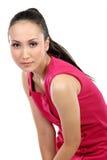 азиатская красивейшая женщина красного цвета платья Стоковые Изображения RF