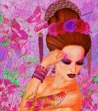 Азиатская красота женщины, крупный план стороны, состав, ресницы и искусство стиля причёсок с красочной предпосылкой Стоковое фото RF