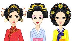 азиатская красотка Комплект портретов анимации восточных девушек в традиционных одеждах Япония, Корея, Китай