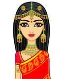 азиатская красотка Портрет анимации молодой индийской девушки в традиционных одеждах Принцесса сказки бесплатная иллюстрация