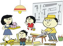 азиатская мастерская дома шаржа иллюстрация штока