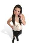 азиатская милая женщина телефона Стоковая Фотография
