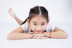 Азиатская милая девушка в костюме скачки с стороной улыбки Стоковые Изображения RF