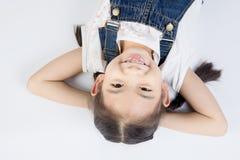 Азиатская милая девушка в костюме скачки с стороной улыбки Стоковое Изображение
