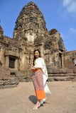 Азиатская модель в традиционном тайском платье Стоковое Изображение