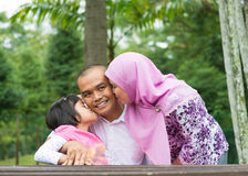Азиатская мусульманская семья Стоковые Изображения RF