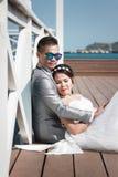 Азиатская пара сфотографированная перед замужеством Пре-свадьба на Koh Стоковые Фотографии RF