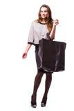 азиатская предпосылка кладет детенышей в мешки женщины красивейшей кавказской покупкы покупателя гонки пинка смешанной модели дли Стоковые Изображения RF