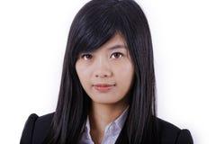 Азиатская сторона улыбки женщины на белизне Стоковая Фотография