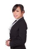 Азиатская сторона улыбки женщины Стоковое Изображение