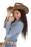 Азиатская усмешка шлема джинсовой ткани женщины Стоковое Фото