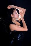 азиатская черная кожа женщины способа платья Стоковые Изображения RF