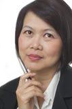 азиатская думая женщина Стоковые Изображения RF
