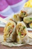 Азиатские блинчики с начинкой заполненные с квиноа, овощи, хрустящая корочка Стоковые Изображения RF